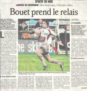 Rémy Bouet, élu sportif du mois (décembre 2012) | Le Dauphiné Libéré, édition Vienne et Roussillon | Publié le 25 janvier 2013