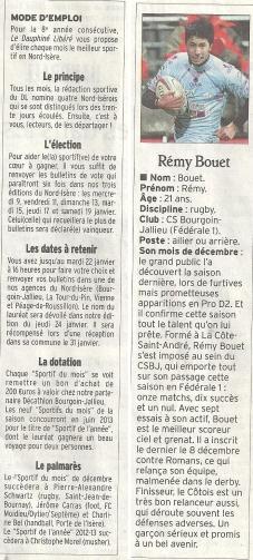 Sportif du mois, décembre 2012 | Le Dauphiné Libéré, édition Vienne et Roussillon | Publié le 9 janvier 2013