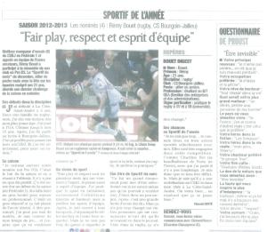 Sportif de l'année | Le Dauphiné Libéré, édition Vienne et Roussillon | Publié le 26 juin 2013